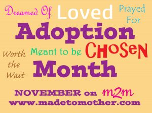 November is Adoption Month and M2M Wants to Hear From YOU